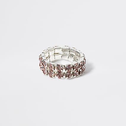 Girls pink diamante elasticated ring