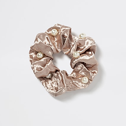 Girls pink embellish satin scrunchie hairband