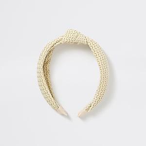 Crèmekleurige haarband met knoop en textuur voor meisjes