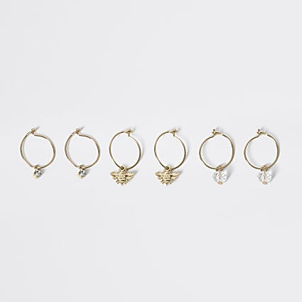 Girls gold colour hoop earrings 3 pack