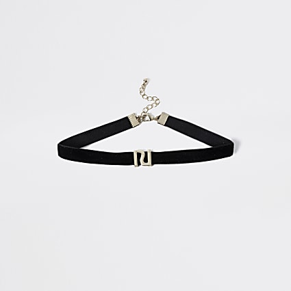 Girls black RI velvet choker