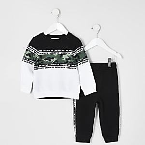 Mini – MCMLX – Schwarzes Sweatshirt-Outfit mit Camouflagemuster für Jungen