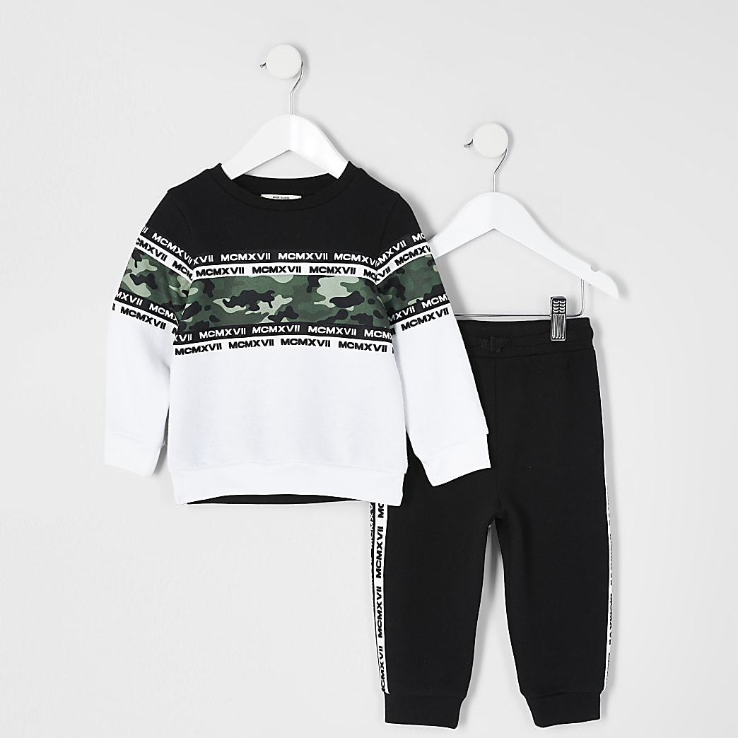 Mini boys black camo MCMLX sweatshirt outfit