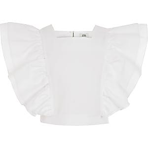 Weißes Crop Top mit gerüschter Vorderseite für Mädchen