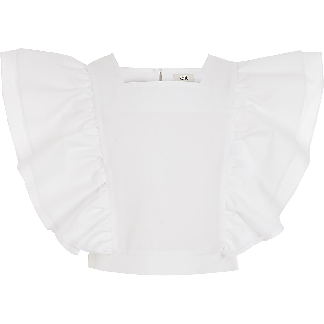 Girls white ruffle front cropped top