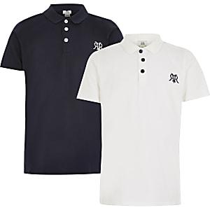 Weißes RVR-Poloshirt für Jungen, 2er-Set