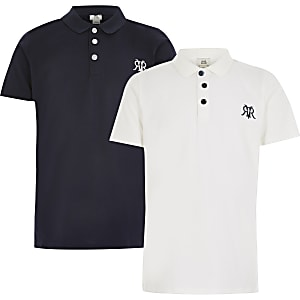 Set van 2 witte poloshirts met RVR-print voor jongens