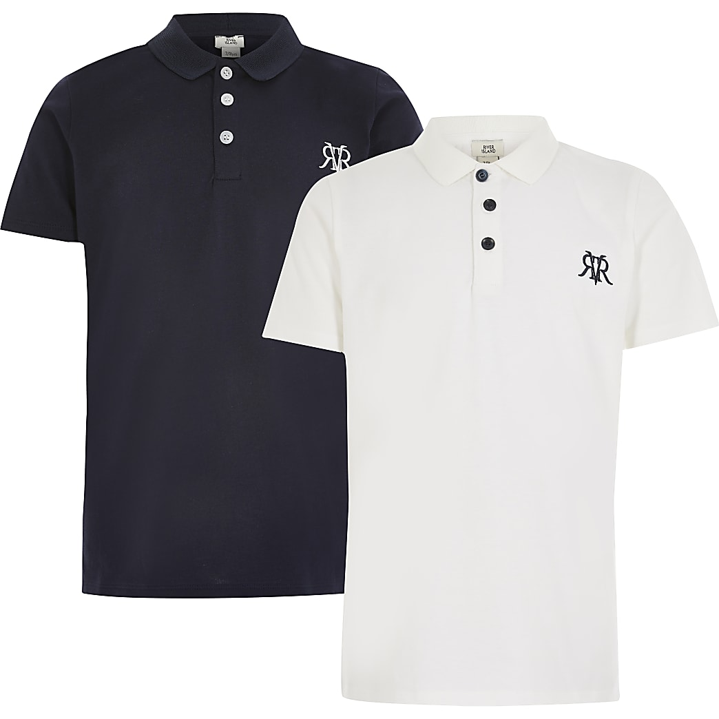 Boys white RVR polo shirt 2 pack