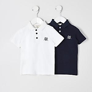 Mini - Set van 2 witte en blauwe poloshirts met RVR-print voor jongens