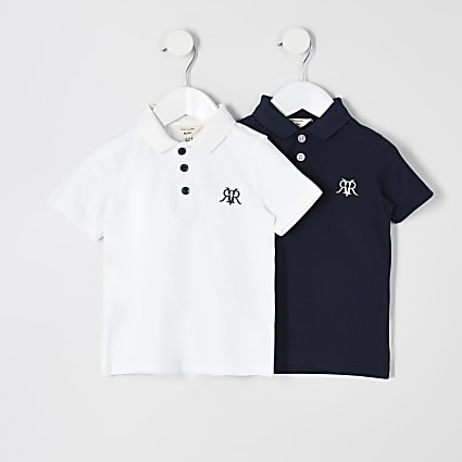 Mini boys white RVR polo shirt 2 pack