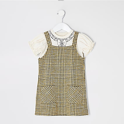 Mini girls brown check pinafore dress outfit