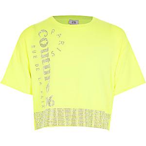 Neongeel T-shirt met 'Couture'-tekst en siersteentjes voor meisjes