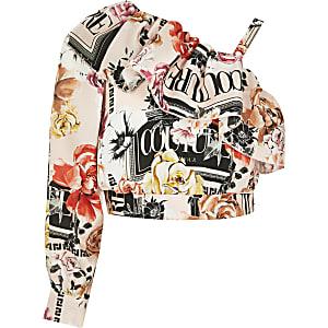 Roze cropped top met print en ontblote schouder voor meisjes