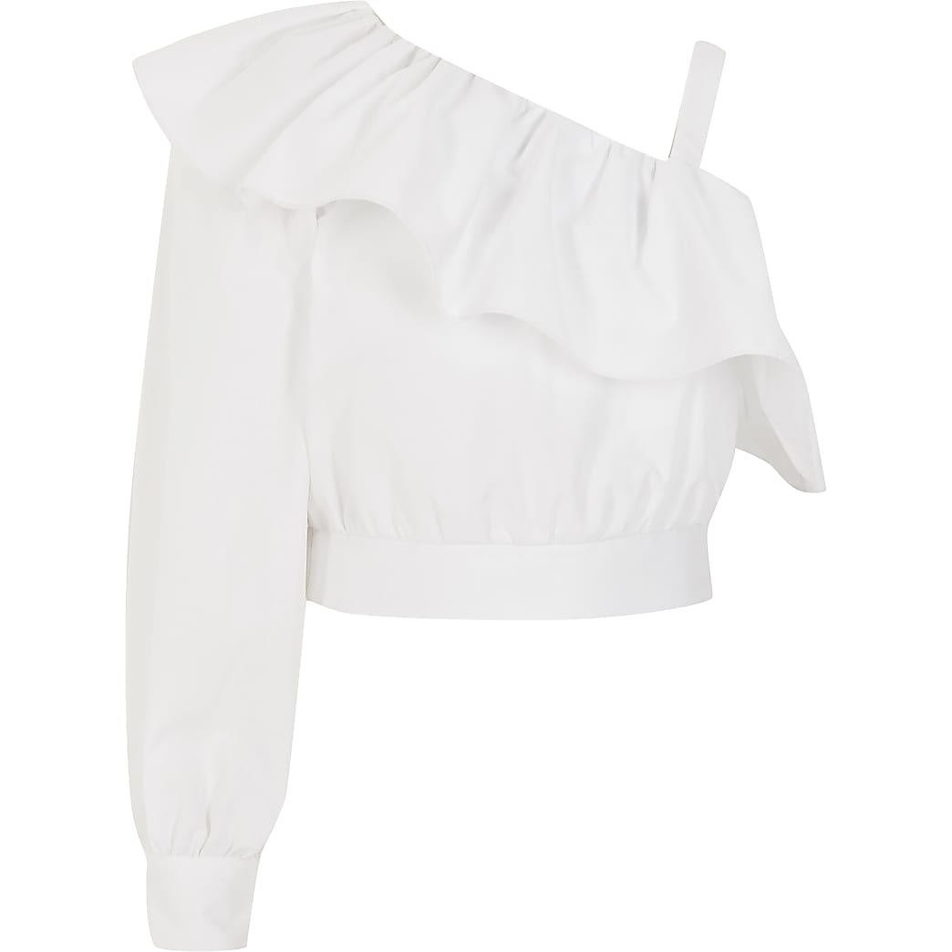 Girls white one shoulder frill cropped top
