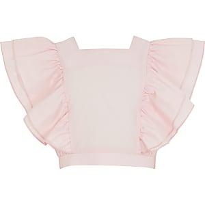 Roze cropped top met ruches voor meisjes