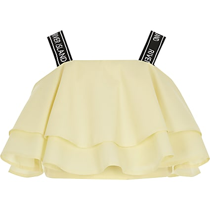 Girls yellow frill RI strap crop top