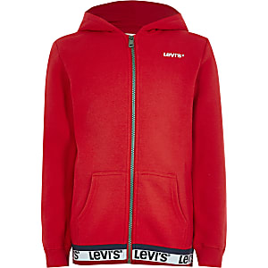 Levi's – Sweat à capuche rouge zippé pour fille