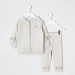 Mini - Crèmekleurige outfit met hoodie met RI tape strik voor meisjes