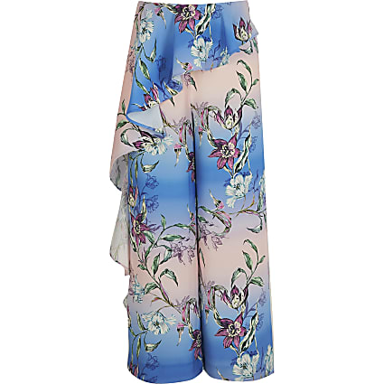 Girls blue floral frill wide leg trousers