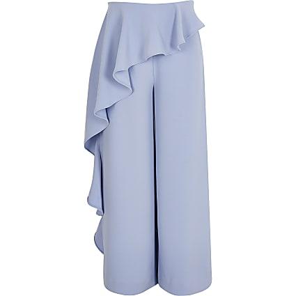 Girls blue frill wide leg trousers