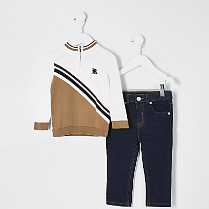 Mini boys beige half zip jumper outfit