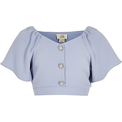Girls blue short frill sleeve cropped top