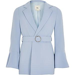 Blazer bleu avec ceinture et manches volantées pour fille