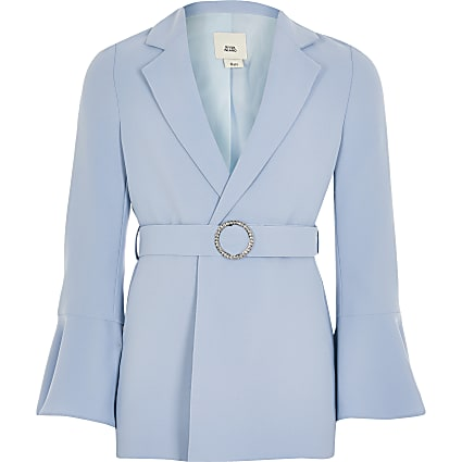 Girls blue belted frill sleeve blazer