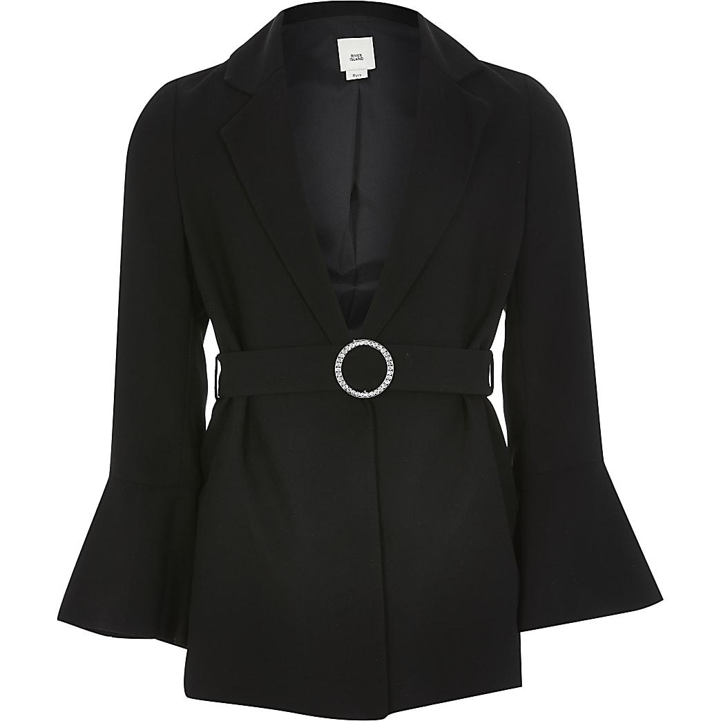 Girls belted black blazer