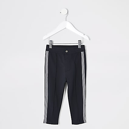 Mini boys navy stripe tape joggers
