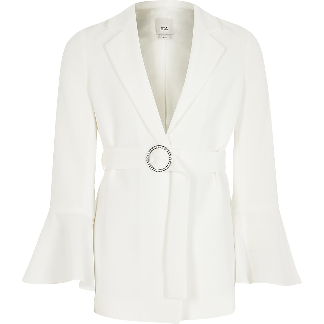 Girls white belted long frill sleeve blazer