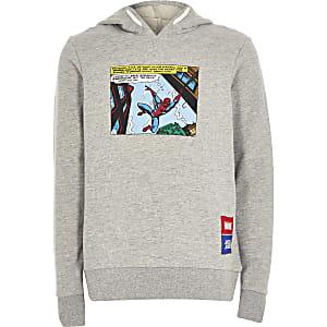 Jack and Jones - Grijze hoodiemet Spiderman print voor jongens