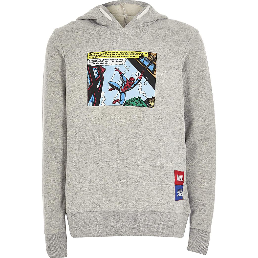 Boys grey Jack and Jones Spiderman hoodie