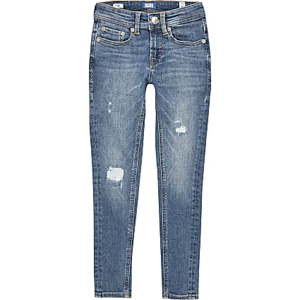 Boys Jack and Jones blue ripped skinny jeans