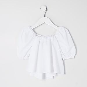 Mini - Witte top met poplin pofmouwen voor meisjes