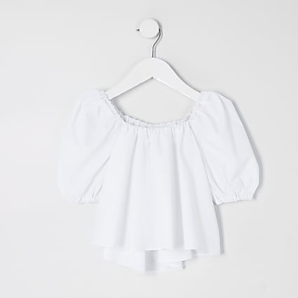 Mini girls white puff sleeve poplin top