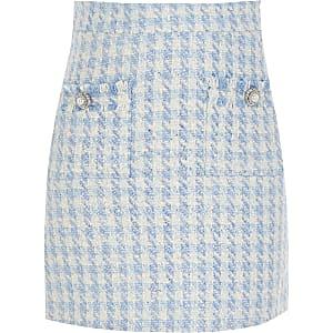 Mini-jupe en maille bouclette bleue ornée pour fille
