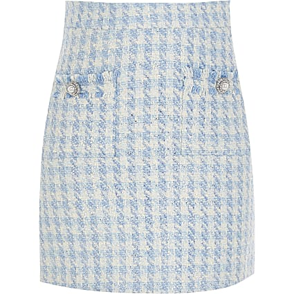 Girls blue boucle embellish mini skirt