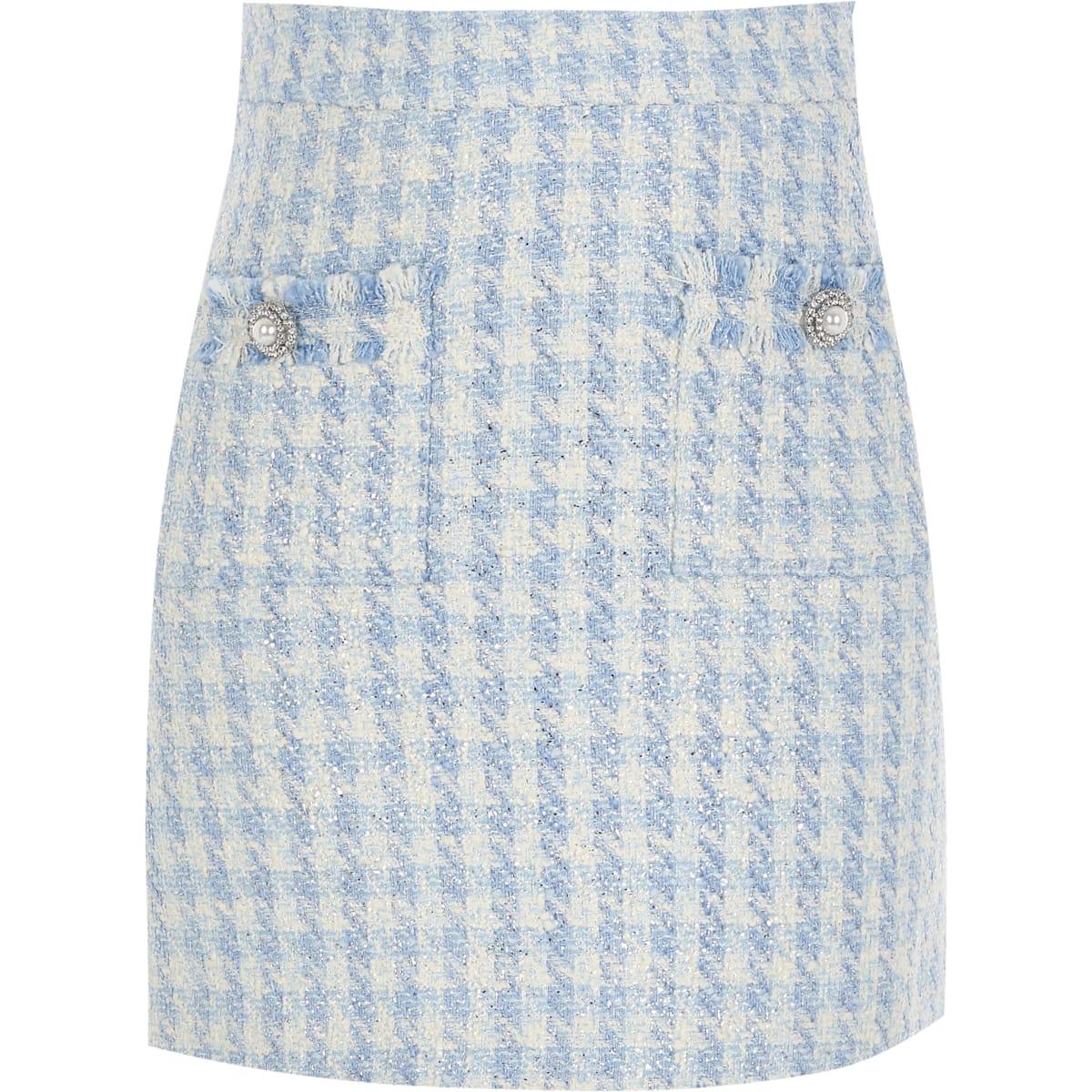 Blauwe bouclé verfraaide minirok voor meisjes