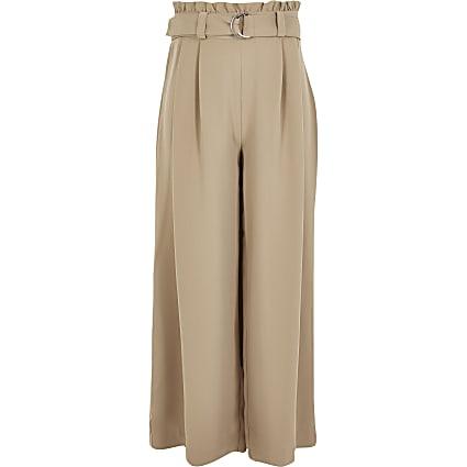 Girls beige belted wide leg trousers