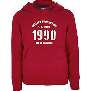 Jack and Jones – Sweat à capuche rouge pour garçon