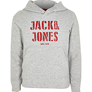 Jack and Jones – Sweat à capuche gris pour garçon