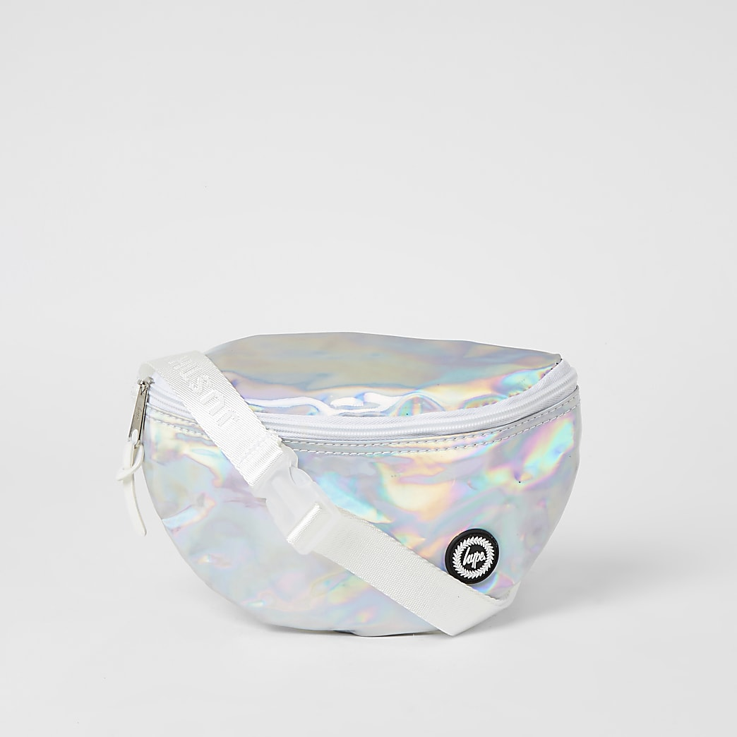 Girls Hype silver iridescent bumbag