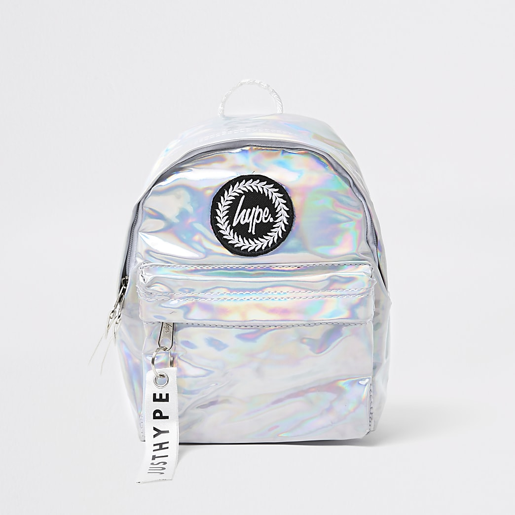 Girls Hype silver iridescent backpack
