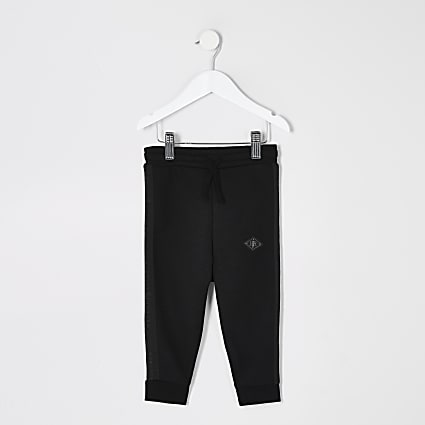 Mini boys black Maison Riviera tape joggers