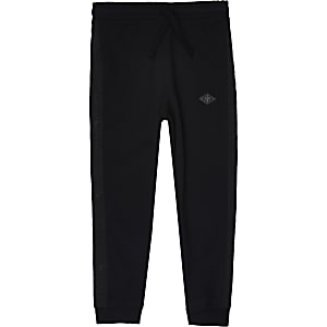 Boys black Maison Riviera tape joggers