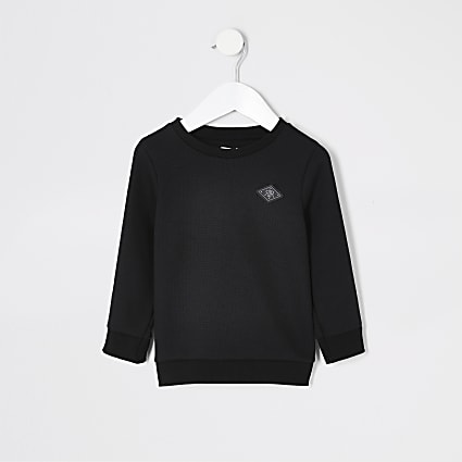 Mini boys black tape long sleeve sweatshirt