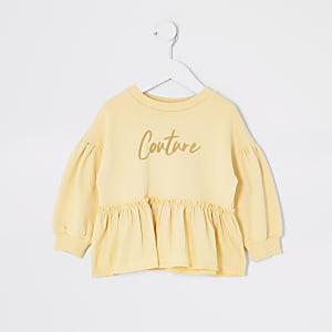 Mini - Gele sweater met 'Couture'-print en ruches voor meisjes