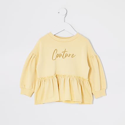 Mini girls yellow 'Couture' frill sweatshirt