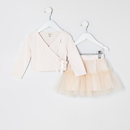 Mini girls pink tutu and wrap top outfit